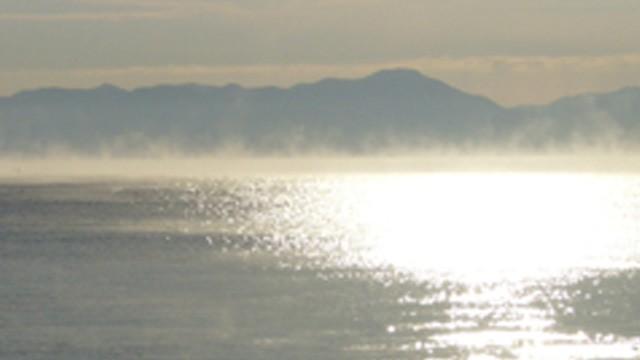 雪の合間の陸奥湾