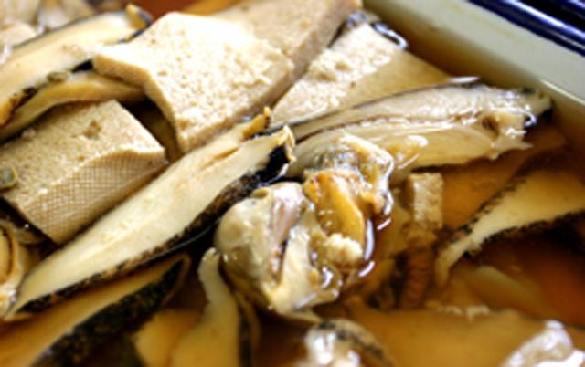 つぶと凍み豆腐の煮付け
