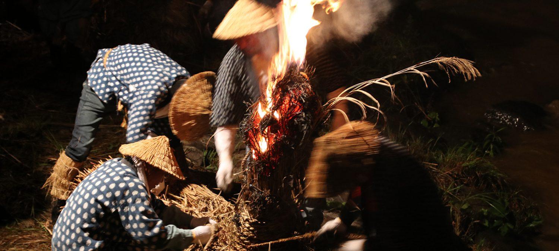 大川原の火流し(燃焼)
